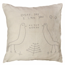 Two Birds Stitched Throw Pillow