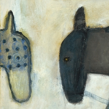 Two Horses Small Vintage Canvas Print on Wood