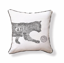 Typography Cat Reversible Throw Pillow
