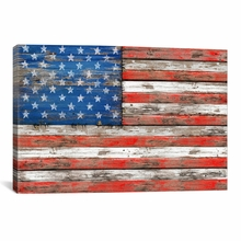 USA Vintage Wood Canvas Wall Art