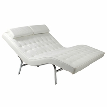 Valencia Duet Lounge Chair in White Leather and Chrome