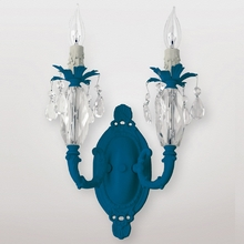 Venus Neon Blue Clear Crystal Double Wall Sconce