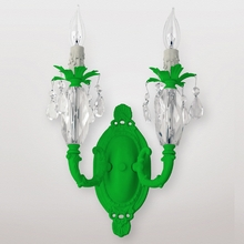 Venus Neon Green Clear Crystal Double Wall Sconce