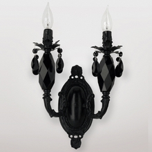 Venus Satin Black Crystal Double Wall Sconce