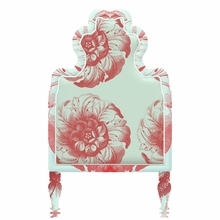 Victorian Floral Blue & Red Headboard Wall Decal for Twin Bed