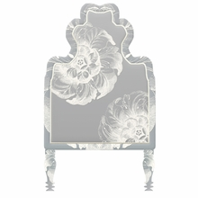 Victorian Floral Grey & Ivory Headboard Wall Decal for Twin Bed