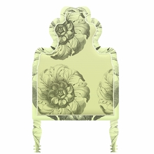 Victorian Floral Yellow & Black Headboard Wall Decal for Twin Bed
