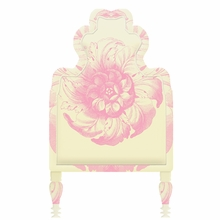 Victorian Floral Yellow & Pink Headboard Wall Decal for Twin Bed