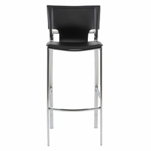 Vinnie Bar Chair in Black Leather and Chrome - Set of 2