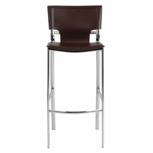 Vinnie Bar Chair in Brown Leather and Chrome - Set of 2