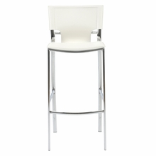 Vinnie Bar Chair in White Leather and Chrome - Set of 2