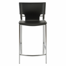 Vinnie Counter Chair in Black Leather and Chrome - Set of 2