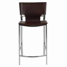 Vinnie Counter Chair in Brown Leather and Chrome - Set of 2
