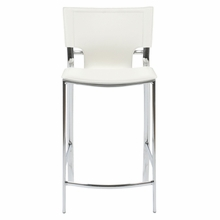 Vinnie Counter Chair in White Leather and Chrome - Set of 2