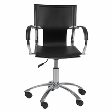 Vinnie Office Chair in Black Leather and Chrome