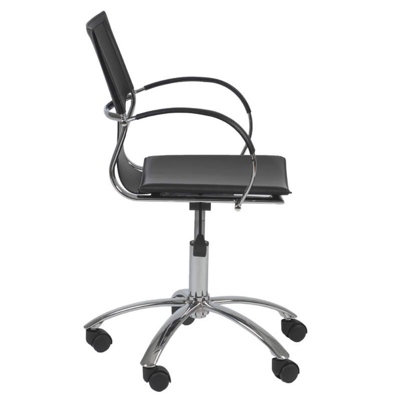 vinnie office chair in black leather and chrome chairs sofas