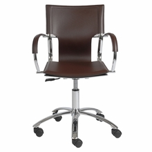 Vinnie Office Chair in Brown Leather and Chrome