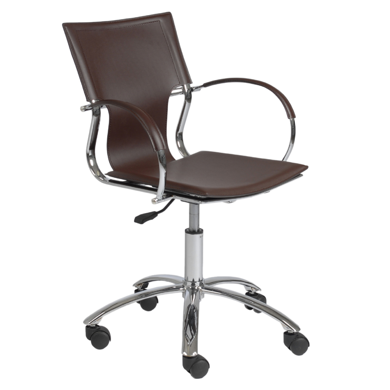 vinnie office chair in brown leather and chrome chairs sofas