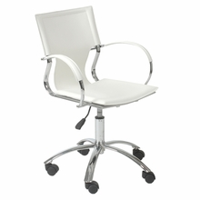 Vinnie Office Chair in White Leather and Chrome