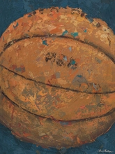 Vintage Basketball Blue Canvas Art