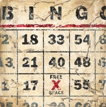 Vintage Bingo Card Canvas Wall Art