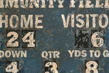 Vintage Blue Football Scoreboard Canvas Wall Art