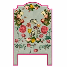 Vintage Flowers Blue Headboard Wall Decal for Twin Bed