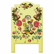 Vintage Flowers Yellow Headboard Wall Decal for Twin Bed