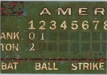 Vintage Green Baseball Scoreboard Canvas Wall Art