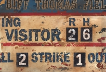 Vintage Navy & Cream Baseball Scoreboard Canvas Wall Art