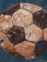 Vintage Soccerball Blue Canvas Art