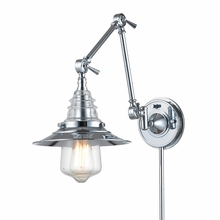 Warehouse Glass Swingarm Sconce In Polished Chrome