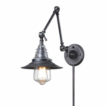 Warehouse Glass Swingarm Sconce In Weathered Zinc