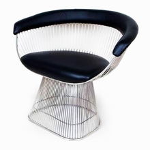 Warren Stainless Steel and Black Leather Arm Chair