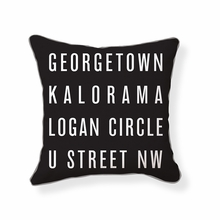 Washington DC Neighborhoods Reversible Throw Pillow