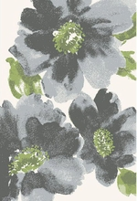 Watercolor Flower Rug in Grey