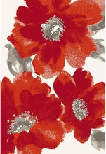 Watercolor Flower Rug in Red