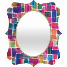 Watercolor Overlay Quatrefoil Mirror