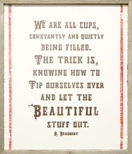 We Are All Cups Vintage Art Print with Grey Wood Frame