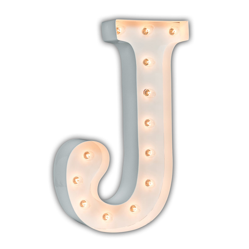 District17 White 24 Inch Letter J Marquee Light Wall