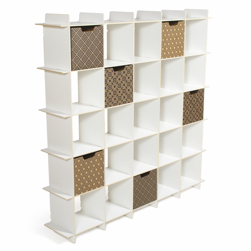 District17 white 25 cubby modern shelving unit storage - Modern white shelving unit ...