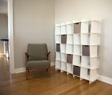 White 25 Cubby Wave Modern Bookcase