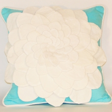 White and Turquoise Flower Applique Throw Pillow