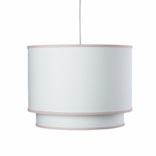 White Double Cylinder Pendant Light with Blush Trim