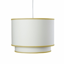 White Double Cylinder Pendant Light with Citron Trim