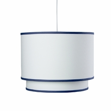 White Double Cylinder Pendant Light with Cobalt Blue Trim
