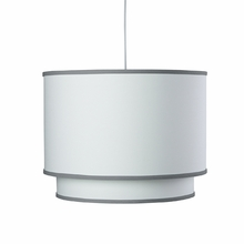 White Double Cylinder Pendant Light with Pewter Trim