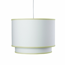 White Double Cylinder Pendant Light with Spring Green Trim
