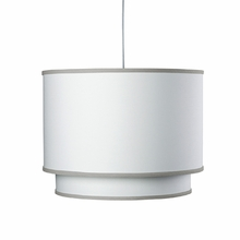 White Double Cylinder Pendant Light with Taupe Trim