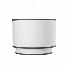 White Double Cylinder Pendant Light with Tree Trunk Brown Trim